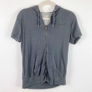 Nike Gray Full Zip Short Sleeve Hoodie Large
